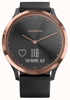 Garmin Vivomove hrアクティビティトラッカーブラックラバーローズゴールドケース 010-01850-06