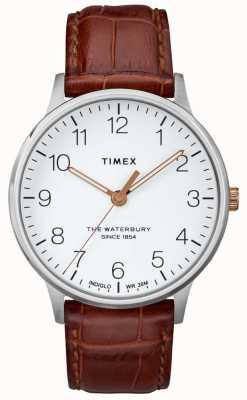 Timex メンズウォーターベリークラシックホワイトダイヤル、ローズゴールドの手 TW2R95900