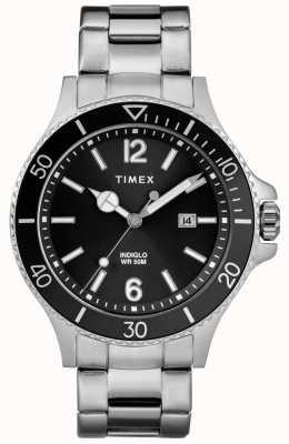 Timex ステンレススチールブレスレットブラックダイヤルメンズハーバーサイド TW2R64600