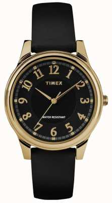 Timex レディースクラシックブラックレザーストラップブラックダイヤルウォッチ TW2R87100
