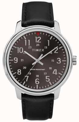Timex メンズクラシックブラックレザーブラシブラックダイヤル TW2R85500