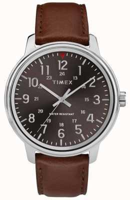Timex メンズクラシックタン革のブラックダイヤル TW2R85700
