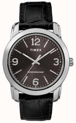 Timex メンズクラシックブラックレザークロコストラップブラックダイヤル TW2R86600