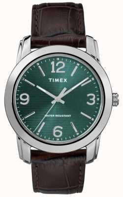 Timex メンズクラシックブラウンレザークロークストラップグリーンダイヤル TW2R86900