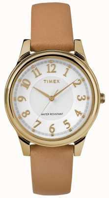 Timex レディースクラシックタン革バンドシルバーダイヤル、ゴールドトーン TW2R87000