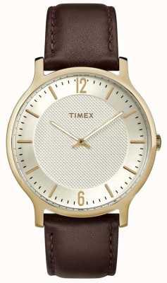 Timex メンズメトロポリタン腕時計40mmブラウンレザーゴールドトーンダイヤル TW2R92000