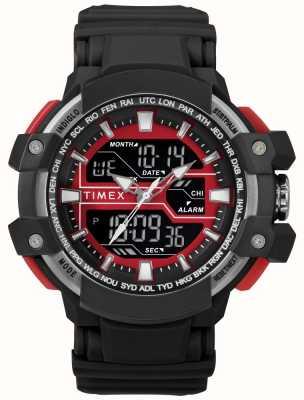Timex メンズ50mmブラックケース、レッドアクセントブラックストラップ付き TW5M22700