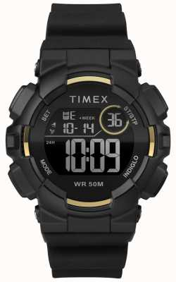 Timex レディース44mmブラックケースブラックストラップ TW5M23600