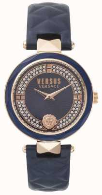 Versus Versace レディースコベントガーデンブルーレザーストラップブルーストーンセットダイヤル SPCD280017