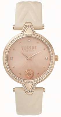 Versus Versace レディースv対石のセットはゴールドダイヤルピンクのレザーストラップをバラ SPCI330017