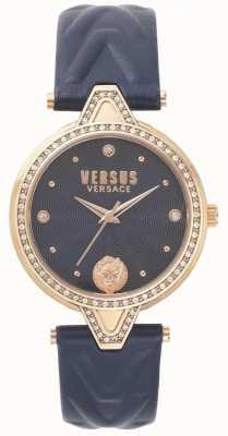 Versus Versace レディースV対ストーンセットブルーダイヤルブルーレザーストラップ SPCI340017