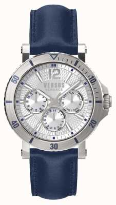 Versus Versace メンズスティーンバーグシルバーダイヤルブルーレザーストラップ SP52010018
