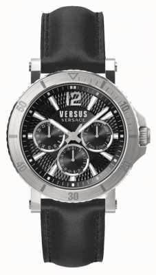 Versus Versace メンズスティーンバーグブラックダイヤルブラックレザーストラップ SP52020018