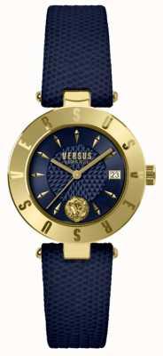 Versus Versace レディースロゴブルーダイヤルブルーレザーストラップ SP77220018