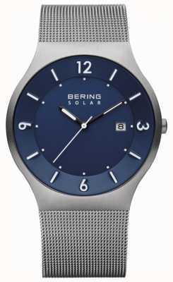 Bering メンズソーラーブルーダイヤルグレーステンレスメッシュストラップ 14440-007