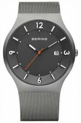 Bering メンズソーラーグレーダイヤルステンレスメッシュストラップ 14440-077