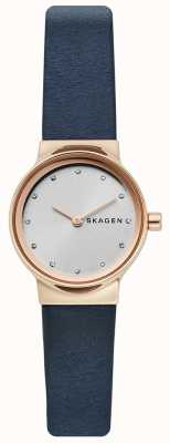 Skagen レディースfreja腕時計、ブルーレザーストラップ、シルバーフェイス SKW2744