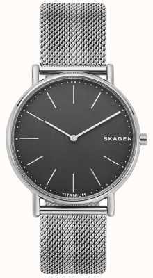 Skagen メンズシグネチャーステンレスメッシュブレスレットブラックダイヤル SKW6483