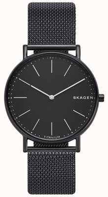 Skagen メンズシグネチャーステンレススチールブラックメッシュブレスレットブラックダイヤル SKW6484