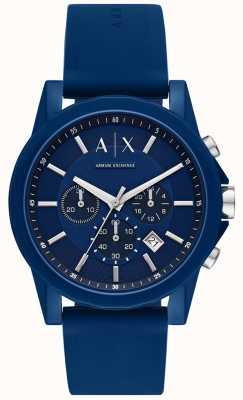 Armani Exchange メンズスポーツ時計ギフトセット|ブルーシリコンストラップ| AX7107