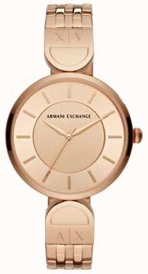 Armani Exchange レディースドレス時計は、金をバラ AX5328