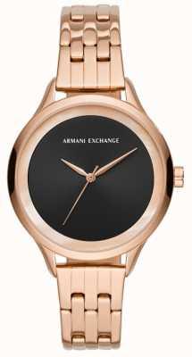 Armani Exchange レディースドレス時計は、金をバラ AX5606