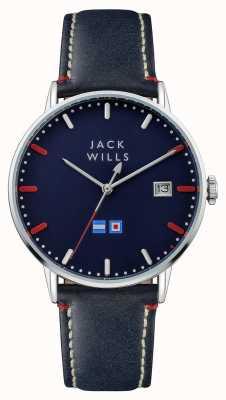 Jack Wills メンズバトンブルーダイヤルブルーレザーストラップ JW002BLSS