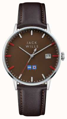 Jack Wills メンズバトンブラウンダイヤルブラウンレザーストラップ JW002BRBR
