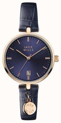 Jack Wills レディースベネットブルーダイヤルレザーストラップ JW005BLRG