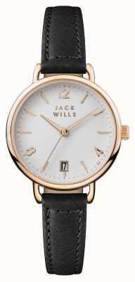 Jack Wills レディースonslowホワイトダイヤルブラックレザーストラップ JW006BKRS