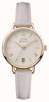 Jack Wills レディースオンスロークリームダイヤルピンクレザーストラップ JW006PKRS