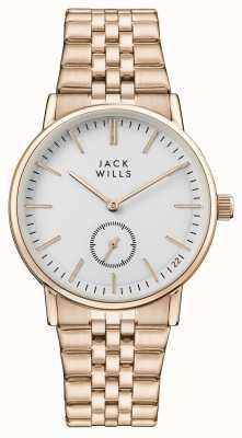Jack Wills レディースバックルホワイトダイヤルローズゴールドpvdブレスレット JW007WHRS