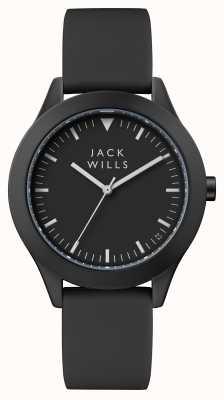 Jack Wills メンズユニオンブラックダイヤルブラックシリコンストラップ JW009BKBK