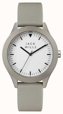 Jack Wills メンズユニオンホワイトダイヤルグレーシリコンストラップ JW009WHGY