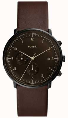 Fossil ステンレススティールケースブラックブラウンレザーストラップメンズブラウン FS5485