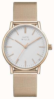 Jack Wills レディースベリーホワイトダイヤルバラのゴールドpvdメッシュブレスレット JW013RSRS