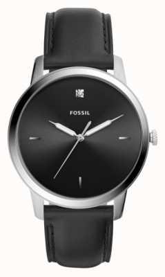 Fossil メンズブラックレザーストラップステンレススティールケースブラックダイヤル FS5497