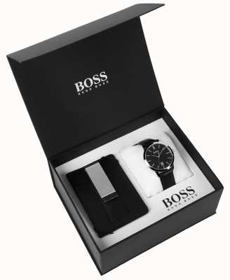 Hugo Boss メンズボックスセットマネークリップクラシックブラックダイヤルブラックレザー 1570065