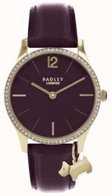 Radley レディース時計パープルレザーストラップゴールドケース RY2708