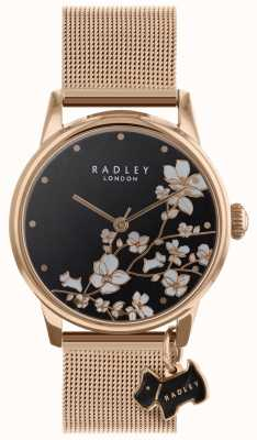 Radley 女性の後ろに花のメッシュストラップブラックダイヤル腕時計 RY4346