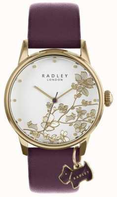 Radley レディース時計紫色の花柄の革ストラップ RY2688