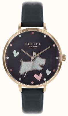 Radley レディース腕時計ブラック犬インクストラップローズゴールドケース RY2680