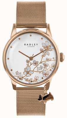 Radley レディースは、ステンレススチールのメッシュのブレスレットの腕時計ゴールドメッキ RY4348
