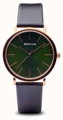 Bering クラシック|ポリッシュローズゴールドブラックストラップ 13436-469
