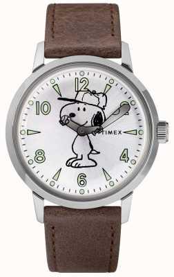 Timex スヌーピーウェルトンシルバーダイヤルブラウンレザーストラップ TW2R94900