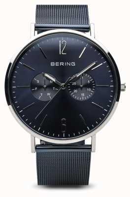 Bering クラシック|ポリッシュシルバー|デイデイトブルー 14240-303