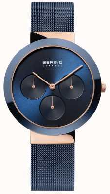 Bering セラミック|磨かれたバラのゴールドケース|ブルーダイヤル 35036-367