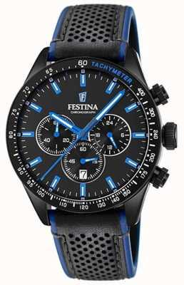 Festina メンズクロノグラフブラックダイヤルブラックレザーストラップ F20359/3