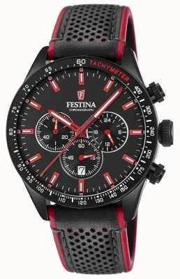 Festina メンズクロノグラフブラックダイヤルブラックレザーストラップ F20359/4