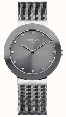 Bering グレーセラミックメッシュブレスレットグレーダイヤル 11435-389